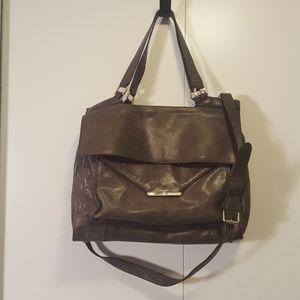 Vince Camuto Gray Leather Satchel Bag w/ Crossbody